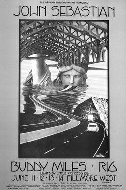 David Singer (American, born 1941). <em>[Untitled] (John Sebastian/Buddy Miles/Rig)</em>, 1970. Offset lithograph on paper, sheet: 21 x 14 in. (53.3 x 35.6 cm). Brooklyn Museum, Designated Purchase Fund, 73.39.232. © artist or artist's estate (Photo: Brooklyn Museum, 73.39.232_bw.jpg)