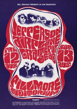 Wes Wilson (American, born 1937). <em>[Untitled] (Jefferson Airplane/Grateful Dead)</em>, 1966. Offset lithograph on paper, sheet: 19 7/8 x 14 1/8 in. (50.5 x 35.9 cm). Brooklyn Museum, Designated Purchase Fund, 73.39.23. © artist or artist's estate (Photo: Brooklyn Museum, 73.39.23_PS3.jpg)