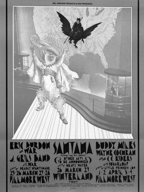 David Singer (American, born 1941). <em>[Untitled] (Eric Burden)</em>, 1971. Offset lithograph on paper, sheet: 28 x 21 in. (71.1 x 53.3 cm). Brooklyn Museum, Designated Purchase Fund, 73.39.267. © artist or artist's estate (Photo: Brooklyn Museum, 73.39.267_bw.jpg)