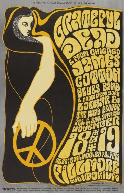 Wes Wilson (American, born 1937). <em>[Untitled] (Grateful Dead/James Cotton...)</em>, 1966. Offset lithograph on paper, sheet: 21 x 13 7/16 in. (53.3 x 34.1 cm). Brooklyn Museum, Designated Purchase Fund, 73.39.38. © artist or artist's estate (Photo: Brooklyn Museum, 73.39.38_PS3.jpg)