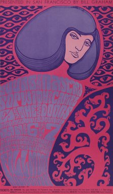 Wes Wilson (American, 1937-2020). <em>[Untitled] (The Young Rascals/Sopwith Camel/The Doors)</em>, 1967. Offset lithograph on paper, sheet: 23 11/16 x 13 7/8 in. (60.2 x 35.2 cm). Brooklyn Museum, Designated Purchase Fund, 73.39.46. © artist or artist's estate (Photo: Brooklyn Museum, 73.39.46_PS3.jpg)
