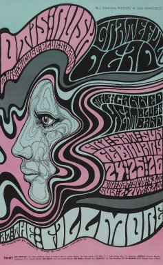 Wes Wilson (American, 1937-2020). <em>[Untitled] (Otis Rush/Grateful Dead/Canned Heat)</em>, 1967. Offset lithograph on vellum, sheet: 22 x 13 5/8 in. (55.9 x 34.6 cm). Brooklyn Museum, Designated Purchase Fund, 73.39.53. © artist or artist's estate (Photo: Brooklyn Museum, 73.39.53_PS3.jpg)