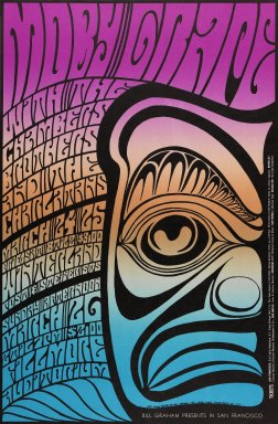 Wes Wilson (American, born 1937). <em>[Untitled] (Moby Grape/Chambers Brothers...)</em>, 1967. Offset lithograph on paper, sheet: 21 x 13 3/4 in. (53.3 x 34.9 cm). Brooklyn Museum, Designated Purchase Fund, 73.39.58. © artist or artist's estate (Photo: Brooklyn Museum, 73.39.58_PS3.jpg)