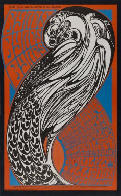 Wes Wilson (American, born 1937). <em>[Untitled] (Byrds/Moby Grape)</em>, 1967. Offset lithograph on paper, sheet: 22 1/4 x 13 3/4 in. (56.5 x 34.9 cm). Brooklyn Museum, Designated Purchase Fund, 73.39.59. © artist or artist's estate (Photo: Brooklyn Museum, 73.39.59_PS3.jpg)