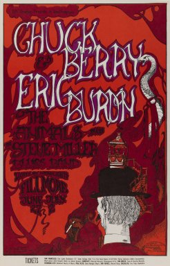 Greg Irons (American, 1947-1984). <em>[Untitled] (Chuck Berry/Eric Burdon/The Animals...)</em>, 1967. Offset lithograph on paper, sheet: 21 1/2 x 13 15/16 in. (54.6 x 35.4 cm). Brooklyn Museum, Designated Purchase Fund, 73.39.72. © artist or artist's estate (Photo: Brooklyn Museum, 73.39.72_PS3.jpg)