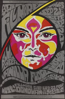Bonnie MacLean (American, born 1949). <em>[Untitled] (Blue Cheer/Vanilla Fudge/Sunshine Co.)</em>, 1967. Offset lithograph on paper, sheet: 21 1/4 x 14 3/16 in. (54 x 36 cm). Brooklyn Museum, Designated Purchase Fund, 73.39.84. © artist or artist's estate (Photo: Brooklyn Museum, 73.39.84_PS3.jpg)