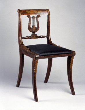 Charles-Honoré Lannuier (American, born France, 1779-1819). <em>Side Chair</em>, ca 1815. Beech, 32 3/4 x 17 3/4 in. (83.2 x 45.1 cm). Brooklyn Museum, Purchased with funds given by Eric M. Wunsch and the H. Randolph Lever Fund, 73.48.1. Creative Commons-BY (Photo: Brooklyn Museum, 73.48.1_IMLS_SL2.jpg)
