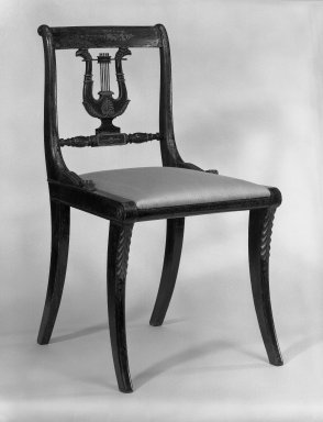 Charles-Honoré Lannuier (American, born France, 1779-1819). <em>Side Chair</em>, ca. 1815. Beech, height: 32 34 in. (83 cm); width: 17 3/4 in. (45 cm);heigh to seat 15 in. (38 cm). Brooklyn Museum, Gift of  Eric M. Wunsch and the H. Randolph Lever Fund, 73.48.2. Creative Commons-BY (Photo: Brooklyn Museum, 73.48.2_bw_IMLS.jpg)