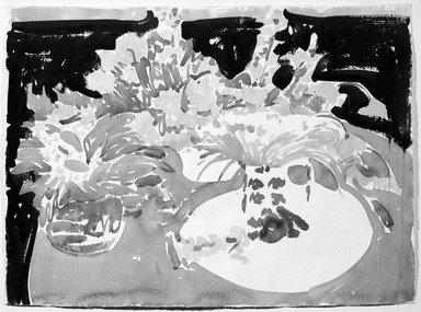 Ray Ciarrocchi (American, born 1933). <em>Summer Still Life</em>, August, 1972. Watercolor, 22 x 30 in. (55.9 x 76.2 cm). Brooklyn Museum, John B. Woodward Memorial Fund, 73.4. © artist or artist's estate (Photo: Brooklyn Museum, 73.4_bw.jpg)