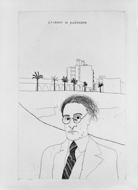 David Hockney (British, born 1937). <em>Portrait of Cavafy in Alexandria</em>, 1966-1967. Etching and aquatint on wove paper, Image: 13 3/4 x 8 7/8 in. (34.9 x 22.5 cm). Brooklyn Museum, Gift of Joseph F. McCrindle, 73.62.2. © artist or artist's estate (Photo: Brooklyn Museum, 73.62.2_bw.jpg)