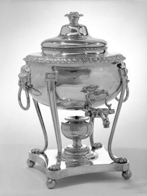 American. <em>Tea Urn with Cover</em>, ca. 1820. Silver, 15 1/2 x 11 x 23 in., 139 lb. (39.4 x 27.9 x 58.4 cm, 63.1kg). Brooklyn Museum, H. Randolph Lever Fund, 73.81a-b. Creative Commons-BY (Photo: Brooklyn Museum, 73.81a-b_bw.jpg)