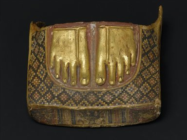<em>Footcase of a Mummy with Images of Defeated Enemies Under the Feet</em>, ca. 1st century C.E. Plaster, pigment, gold leaf, 9 13/16 x 10 3/16 x 5 1/2 in. (25 x 25.8 x 13.9 cm). Brooklyn Museum, Charles Edwin Wilbour Fund, 73.89. Creative Commons-BY (Photo: Brooklyn Museum, 73.89_top_PS2.jpg)