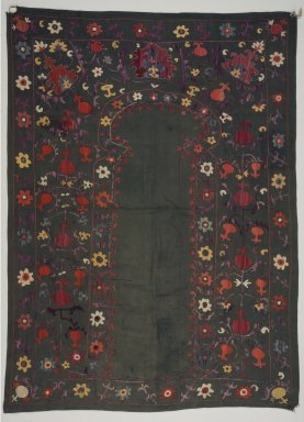 <em>Prayer Hanging</em>, 19th century. Silk embroidery on cotton, 40 15/16 x 56 3/16 in. (104 x 142.7 cm). Brooklyn Museum, Special Middle Eastern Art Fund, 73.90.2. Creative Commons-BY (Photo: Brooklyn Museum, 73.90.2.jpg)
