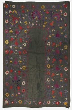 <em>Prayer Hanging</em>, 19th century. Silk embroidery on cotton, 40 15/16 x 56 3/16 in. (104 x 142.7 cm). Brooklyn Museum, Special Middle Eastern Art Fund, 73.90.2. Creative Commons-BY (Photo: Brooklyn Museum, 73.90.2_PS11.jpg)