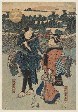 Shigeharu (1803-1853). <em>The Actors Onoe Kikugoro and Sawamura Kintaro</em>, 19th century. Color woodblock print on paper, 14 5/8 x 10 in. (37.1 x 25.4 cm). Brooklyn Museum, Gift of Dr. Israel Samuelly, 74.104.3 (Photo: Brooklyn Museum, 74.104.3_IMLS_PS3.jpg)