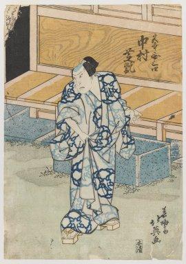 Hokuei (Japanese, active ca.1824-1837). <em>The Actor Nakamura Shikan as Fujiwara Tokihira</em>, 19th century. Color woodblock print on paper, 14 5/8 x 10 in. (37.1 x 25.4 cm). Brooklyn Museum, Gift of Dr. Israel Samuelly, 74.104.7 (Photo: Brooklyn Museum, 74.104.7_IMLS_PS3.jpg)
