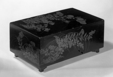 <em>Sutra Box</em>, late 16th century. Lacquered wood, 6 3/8 x 15 x 9 1/2 in. (16.2 x 38.1 x 24.1 cm). Brooklyn Museum, Designated Purchase Fund, 74.108.1a-c. Creative Commons-BY (Photo: Brooklyn Museum, 74.108.1a-c_bw.jpg)