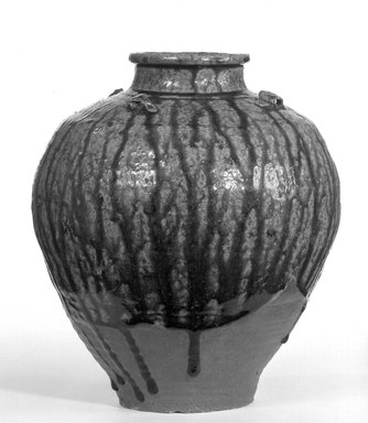 <em>Storage Jar</em>, 17th-18th century. Stoneware with wood ash glaze, Height: 10 7/8 in. (27.6 cm). Brooklyn Museum, Designated Purchase Fund, 74.111. Creative Commons-BY (Photo: Brooklyn Museum, 74.111_bw.jpg)