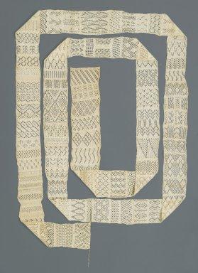 <em>Knitted Sampler</em>, ca. 1800. Cotton, 3 1/2 x 179 15/16 in. (8.9 x 457 cm). Brooklyn Museum, Gift of Joseph F. McCrindle, 74.12.1 (Photo: Brooklyn Museum, 74.12.1_PS2.jpg)
