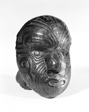 Maori. <em>Head (Parata)</em>, 18th or 19th century. Wood, 6 1/2 x 5 1/4 x 5 1/4 in. (16.5 x 13.3 x 13.3 cm). Brooklyn Museum, Gift of Mr. and Mrs. John A. Friede, 74.124. Creative Commons-BY (Photo: Brooklyn Museum, 74.124_bw_SL3.jpg)