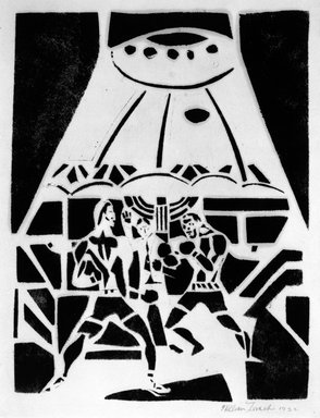 William Zorach (American, born Lithuania, 1887-1966). <em>Johnny Dundee vs. Firpo</em>, 1922. Black and white linocut, image: 4 × 6 in. (10.2 × 15.2 cm). Brooklyn Museum, Gift of Mr. and Mrs. Tessim Zorach, 74.129. © artist or artist's estate (Photo: Brooklyn Museum, 74.129_bw.jpg)