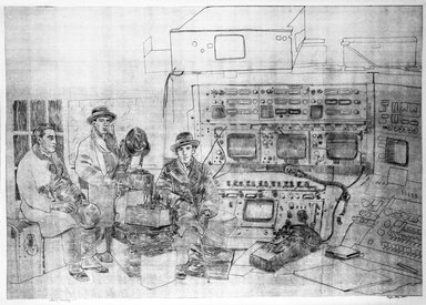 Phyllis Seltzer. <em>A Growing Technology</em>, 1974. Sepia ozalid blue print on paper, sheet: 33 3/4 x 46 3/4 in. (85.7 x 118.7 cm). Brooklyn Museum, Designated Purchase Fund, 74.130.5. © artist or artist's estate (Photo: Brooklyn Museum, 74.130.5_bw.jpg)