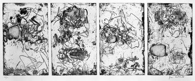 Joan Mitchell (American, 1925-1992). <em>Sunflower IV</em>, 1972. Etching (quadrifid) on paper, sheet (each): 25 x 35 1/4 in. (63.5 x 89.5 cm). Brooklyn Museum, Designated Purchase Fund, 74.136. © artist or artist's estate (Photo: Brooklyn Museum, 74.136_bw.jpg)