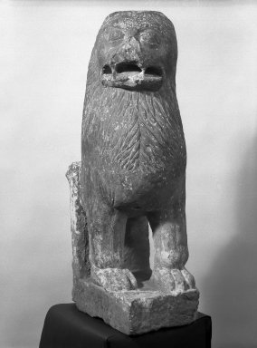 <em>Lion</em>, 3rd-4th century. Tan sandstone, 38 x 11 in.  (96.5 x 27.9 cm). Brooklyn Museum, Gift of Mr. and Mrs. Carl L. Selden, 74.162. Creative Commons-BY (Photo: Brooklyn Museum, 74.162_bw.jpg)