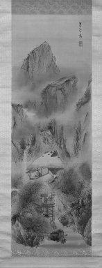 Yokoi Kinkoku (Japanese, 1761-1832). <em>Mountain Landscape</em>, 1761-1832. Hanging scroll, ink and color on silk, Image: 48 x 16 9/16 in. (121.9 x 42.1 cm). Brooklyn Museum, Designated Purchase Fund, 74.163.1 (Photo: Brooklyn Museum, 74.163.1_bw_IMLS.jpg)