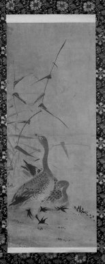 <em>Pair of Wild Geese and Reeds on a Riverbank</em>, 17th century. Hanging scroll, sumi ink on paper, Overall: 71 1/2 x 18 5/8 in. (181.6 x 47.3 cm). Brooklyn Museum, Designated Purchase Fund, 74.163.2 (Photo: Brooklyn Museum, 74.163.2_bw_IMLS.jpg)