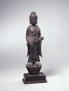 <em>Standing Yakusa</em>, 8th century. Bronze, 7 1/16 x 2 in. (18 x 5.1 cm). Brooklyn Museum, Frank L. Babbott Fund, 74.165. Creative Commons-BY (Photo: Brooklyn Museum, 74.165_SL1.jpg)
