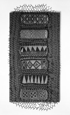 Yorùbá. <em>Shrine Cover</em>. beaded panels, red and blue cotton print, 44 x 19 1/4 in.  (111.8 x 48.9 cm). Brooklyn Museum, Gift of Dr. and Mrs. Ernst Anspach, 74.171.2. Creative Commons-BY (Photo: Brooklyn Museum, 74.171.2_bw.jpg)