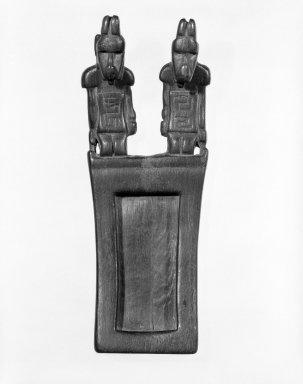 Tiwanaku. <em>Tray for Hallucinogenic Snuff</em>, 400-1000. Wood, 2 1/2 x 1 11/16 x 6 1/2 in. (6.4 x 4.3 x 16.5 cm). Brooklyn Museum, Designated Purchase Fund, 74.176. Creative Commons-BY (Photo: Brooklyn Museum, 74.176_bw.jpg)