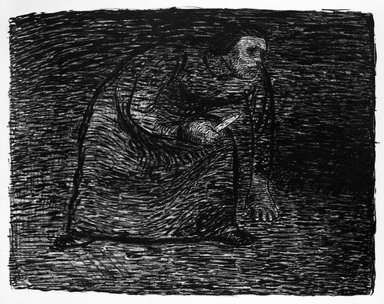 Ernst Barlach (German, 1870-1938). <em>Thinking of Murder (Auf Mord bedacht)</em>, 1912. Lithograph on heavy wove paper with deckled edges, Image: 9 x 11 3/8 in. (22.9 x 28.9 cm). Brooklyn Museum, Gift of Mr. and Mrs. Samuel Dorsky, 74.178.3 (Photo: Brooklyn Museum, 74.178.3_bw.jpg)