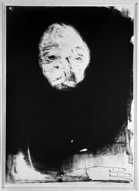 Nathan Oliveira (American, 1928 - 2010). <em>Head</em>, 1969. Lithograph on paper, 28 1/8 x 20 1/8 in. (71.4 x 51.1 cm). Brooklyn Museum, Gift of Mr. and Mrs. Samuel Dorsky, 74.178.56. © artist or artist's estate (Photo: Brooklyn Museum, 74.178.56_bw.jpg)