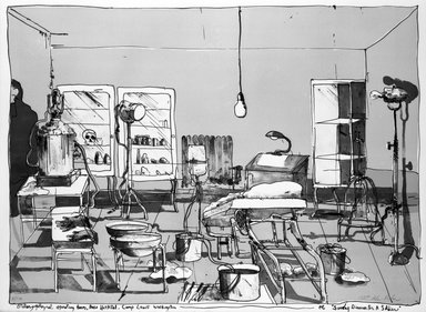 Robert Andrew Parker (American, born 1927). <em>Sunday Dinner for a Soldier</em>, n.d. Lithograph on paper, sheet: 22 1/8 x 30 in. (56.2 x 76.2 cm). Brooklyn Museum, Gift of Mr. and Mrs. Samuel Dorsky, 74.178.58. © artist or artist's estate (Photo: Brooklyn Museum, 74.178.58_bw.jpg)