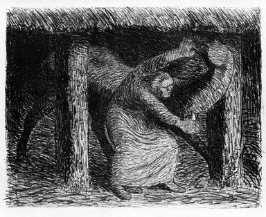 Ernst Barlach (German, 1870-1938). <em>The Victim (Der Verletze)</em>, 1912. Lithograph on wove paper with deckled edges, Image: 9 11/16 x 12 3/8 in. (24.6 x 31.4 cm). Brooklyn Museum, Gift of Mr. and Mrs. Samuel Dorsky, 74.178.5 (Photo: Brooklyn Museum, 74.178.5_bw.jpg)