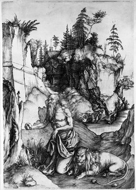 Albrecht Dürer (German, 1471-1528). <em>St. Jerome in the Desert</em>, 1495-1497. Engraving on laid paper, Sheet: 12 3/8 x 8 7/8 in. (31.4 x 22.5 cm). Brooklyn Museum, Anonymous gift, 74.180 (Photo: Brooklyn Museum, 74.180_bw.jpg)
