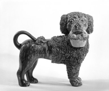 <em>Figure of a Poodle</em>, ca. 1849-1858. Stoneware, 21 5/16 x 9 1/2 in. (54.1 x 24.1 cm). Brooklyn Museum, H. Randolph Lever Fund, 74.19.2. Creative Commons-BY (Photo: Brooklyn Museum, 74.19.2_bw.jpg)