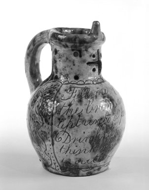<em>Puzzle Jug</em>, ca. 1775. Decorated earthenware, 6 1/4 in. (15.9 cm). Brooklyn Museum, H. Randolph Lever Fund, 74.19.4. Creative Commons-BY (Photo: Brooklyn Museum, 74.19.4_bw.jpg)