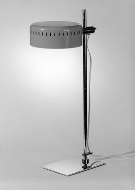 Robert Sonneman Associates, Inc.. <em>Desk Lamp</em>, ca. 1970. Chromium, enameled metal, plastic, 19 3/4 x 6 1/4 x 10 1/4 in. (50.2 x 15.9 x 26 cm). Brooklyn Museum, Gift of Bonniers, Incorporated, 74.192.2. Creative Commons-BY (Photo: Brooklyn Museum, 74.192.2_bw.jpg)