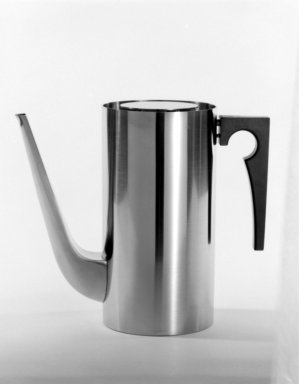 Stelton Lauffer. <em>Coffee Pot and Lid</em>, Denmark, 1967. Brushed stainless steel, 7 7/8 x 3 7/8 x 4 1/16 in. (20 x 9.8 x 10.3 cm). Brooklyn Museum, Gift of Bonniers, Incorporated, 74.192.9a-b. Creative Commons-BY (Photo: Brooklyn Museum, 74.192.9_bw.jpg)