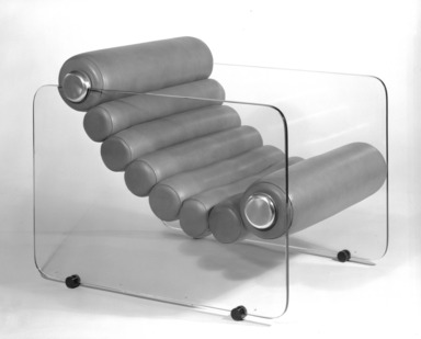"Fabio Lanci (Italian, born 1935). <em>""Hyaline"" Adjustable Lounge Chair</em>, ca. 1968. Colorless glass, stainless steel, urethane rolls, leather, 28 x 27 1/2 x 35 1/2 in. (71.1 x 69.9 x 90.2 cm). Brooklyn Museum, Gift of Stendig, Inc., 74.194.3. Creative Commons-BY (Photo: Brooklyn Museum, 74.194.3_bw.jpg)"
