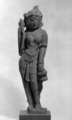 <em>Standing Female</em>, 11th century. Pinkish sandstone, 28 1/2 x 7 1/2 in. (72.4 x 19.1 cm). Brooklyn Museum, Gift of Emily Goldman, 74.198.1. Creative Commons-BY (Photo: Brooklyn Museum, 74.198.1_bw_IMLS.jpg)