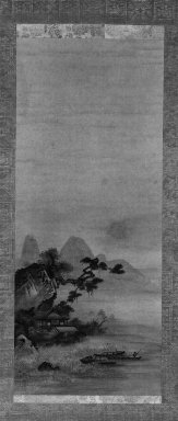 Sugetsu (Japanese, died ca. 1510). <em>Hanging Scroll Painting, Landscape</em>, early 16th century. Hanging scroll, ink and light color on paper, Image: 32 1/4 x 13 3/8 in. (81.9 x 34 cm). Brooklyn Museum, Gift of Mrs. Harold G. Henderson in memory of Professor Harold G. Henderson, 74.201.1 (Photo: Brooklyn Museum, 74.201.1_bw_IMLS.jpg)