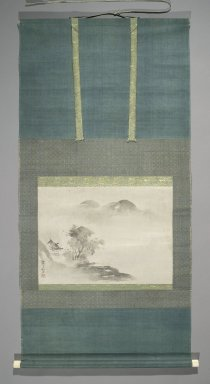 Watanabe Shiko (Japanese, 1683-1755). <em>Landscape</em>, 18th century. Hanging scroll, ink on paper, Image: 13 x 17 1/2 in. (33 x 44.5 cm). Brooklyn Museum, Gift of Mrs. Harold G. Henderson in memory of Professor Harold G. Henderson, 74.201.3 (Photo: Brooklyn Museum, 74.201.3_PS2.jpg)