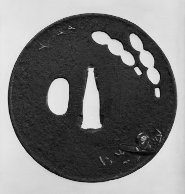 Nobuiye. <em>Tsuba (Sword Guard)</em>, 17th century (possibly). Black-patinated iron, iroe, 3 5/16 in. (8.4 cm). Brooklyn Museum, Gift of Leighton R. Longhi, 74.202.13. Creative Commons-BY (Photo: Brooklyn Museum, 74.202.13_side1_bw.jpg)