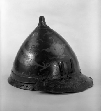 <em>Helmet Bowl</em>, 18th century. Brown-patinated hammered steel, 7 3/4 x 9 1/4 in. (19.7 x 23.5 cm). Brooklyn Museum, Gift of Leighton R. Longhi, 74.202.3. Creative Commons-BY (Photo: Brooklyn Museum, 74.202.3_bw.jpg)