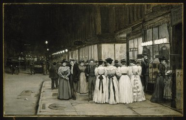 William Anderson Coffin (American, 1855-1925). <em>Saturday Night in August -- Eighth Avenue</em>, ca. 1900. Oil on canvas, 16 1/8 x 26 in. (41 x 66 cm). Brooklyn Museum, Gift of Mr. and Mrs. Stuart Feld, 74.207 (Photo: Brooklyn Museum, 74.207_SL1.jpg)