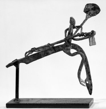 Dogon. <em>Equestrian Figure</em>, late 19th or early 20th century. Wrought iron, 6 x 7 1/2 x 2 in. (15.3 x 19.0 x 5.1 cm). Brooklyn Museum, Gift of Dr. and Mrs. Willi Riese to the Jennie Simpson Educational Collection of African Art, 74.217.5. Creative Commons-BY (Photo: Brooklyn Museum, 74.217.5_bw.jpg)